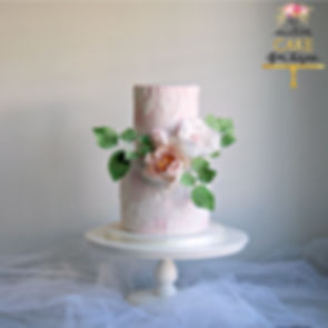Blush Pink Marble Sugar Flower Wedding Cake