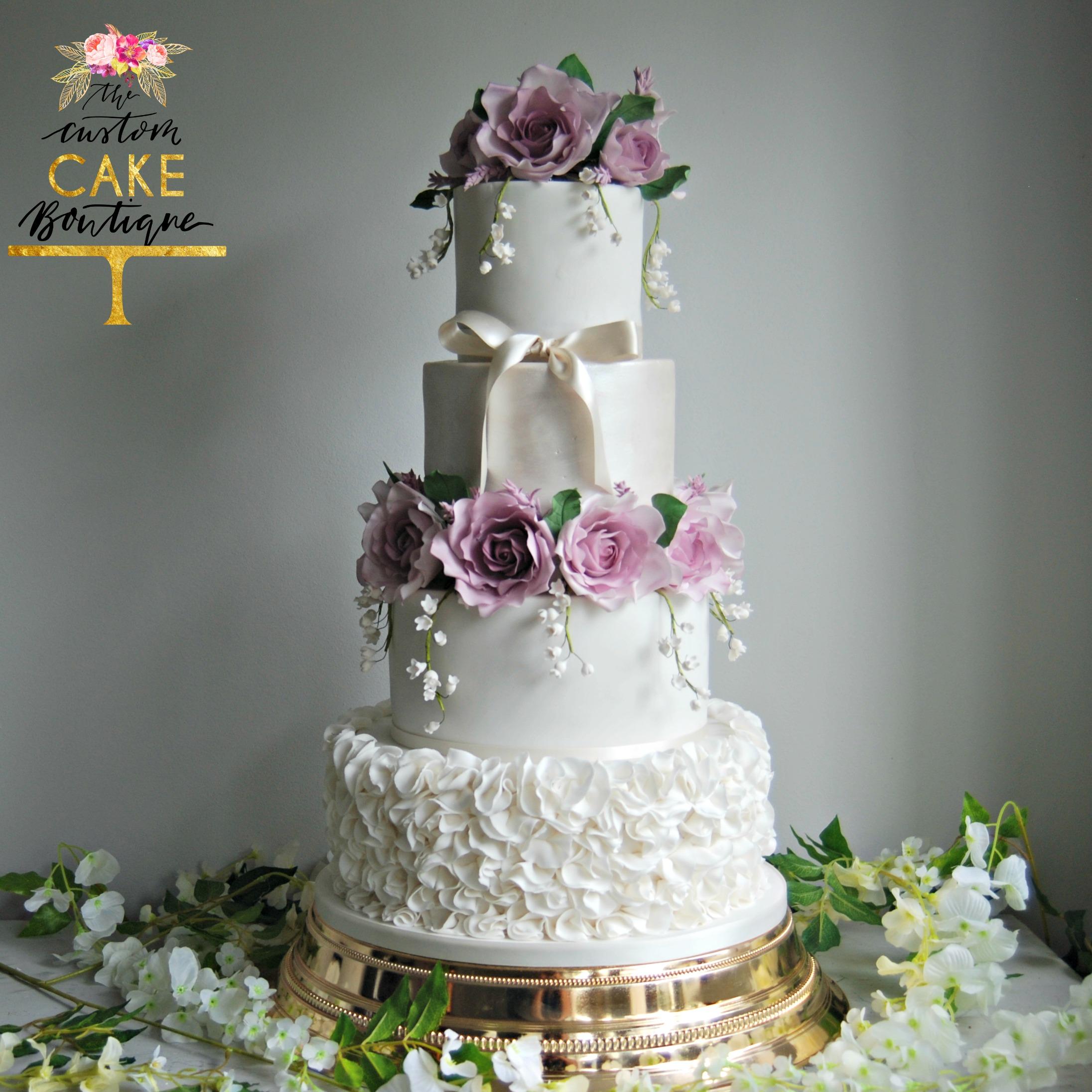 Ruffle & Sugar Roses Wedding Cake L
