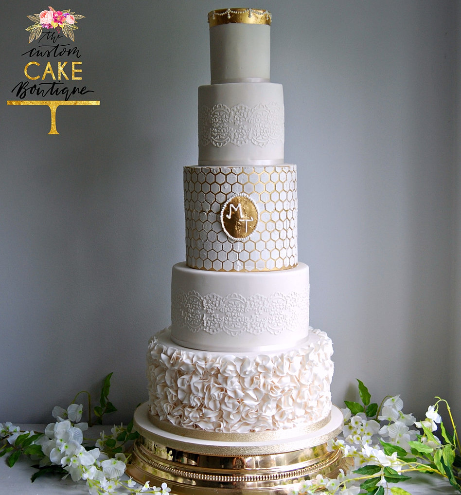 White lace texture bridal layered ruffled - Gold And Ivory Ruffle Wedding Cake Gold Cake Stand L