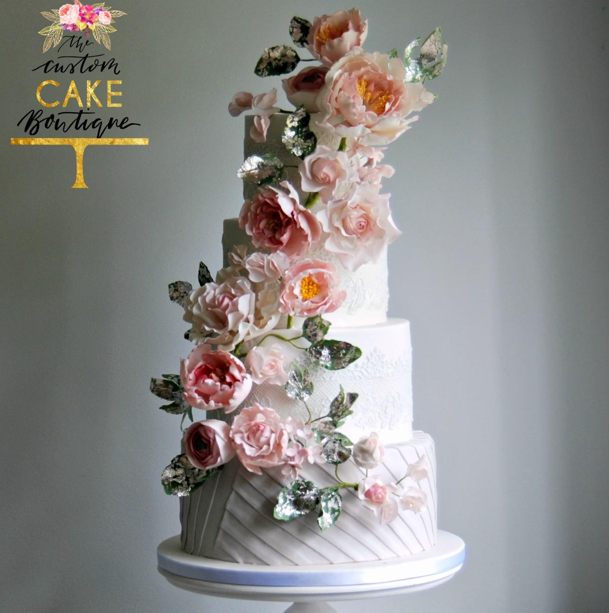 Pleats & Sugar Flower Cascade Wedding Cake L