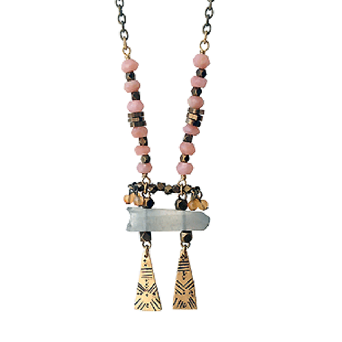 Pink Peruvian Opal & Crystal long necklace
