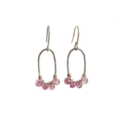 PINK TOURMALINE TEXTURED HOOP EARRINGS