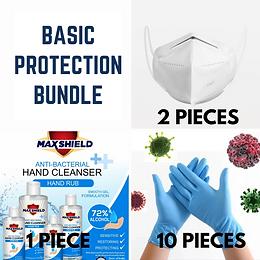 Basic Protection Bundle- 2 KN-95 Masks+1 Hand Sanitizer+10 Gloves