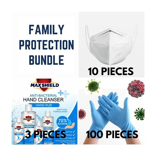 Family Protection Bundle- 10 KN-95 Masks+3 Hand Sanitizers+100 Gloves