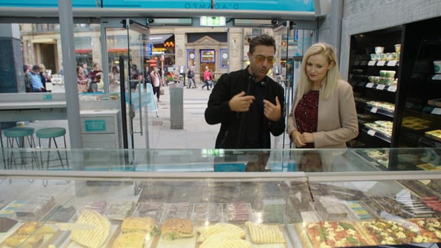 Nikki has a posh coffee with Gino D'Campo at his new deli