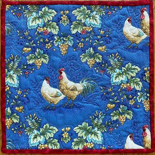 Here Chick, Chick! 10 inch mini quilt