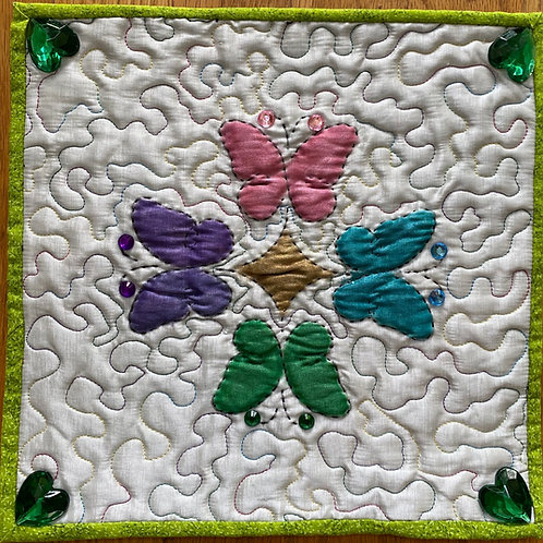 Painted Butterflies, a mini art quilt by Joyce Turk