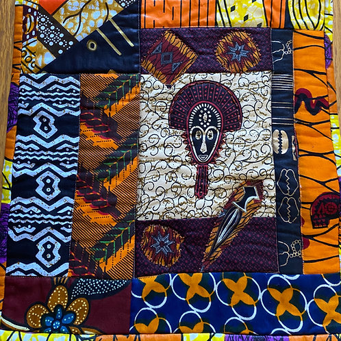 Beaded African Mask 12x12 inch Quilt