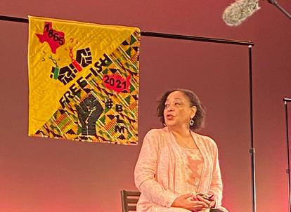 Yvonne Bernal Little and her quilt.