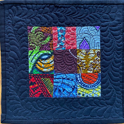 African 10 inch mini quilt by Michelle Curney Willis