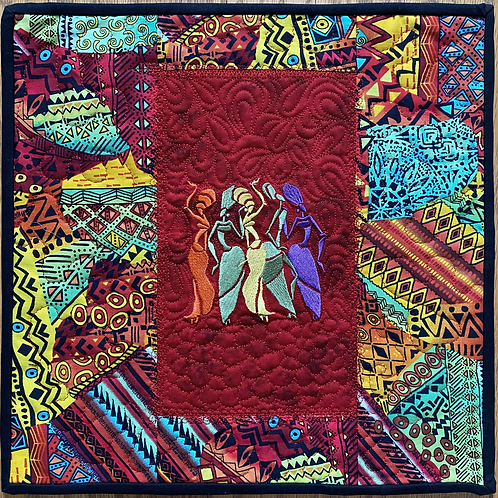 Dancing Embroidered Ladies 12 inch art quilt