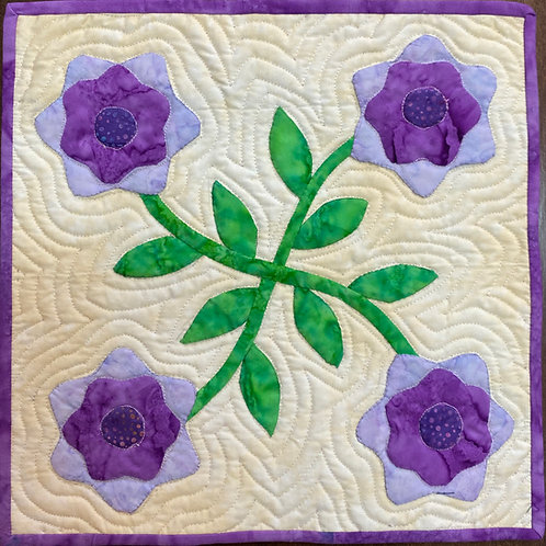 Traditional Flower, 12x12 inch art quilt