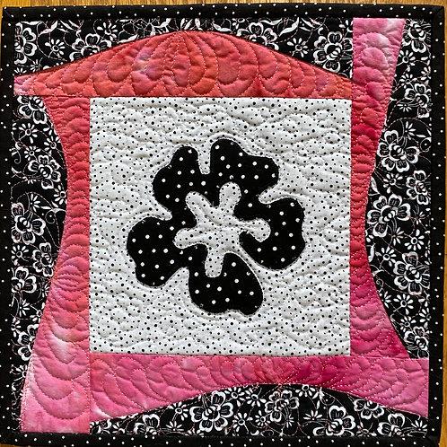 Hibiscus, 12x12 inch art quilt