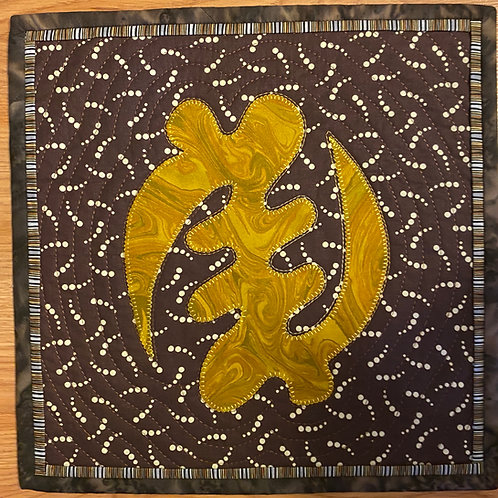 Gye Nyame / Only God, 12x12 inch art quilt