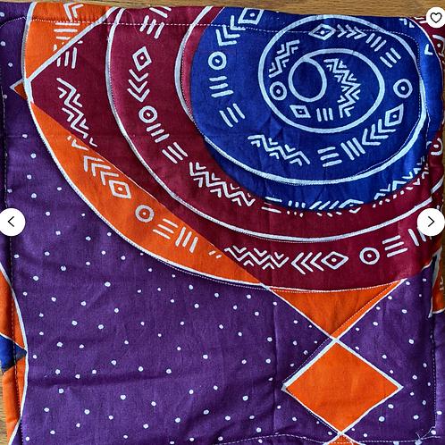 Circles and symbols 12x12 inch mini art quilt