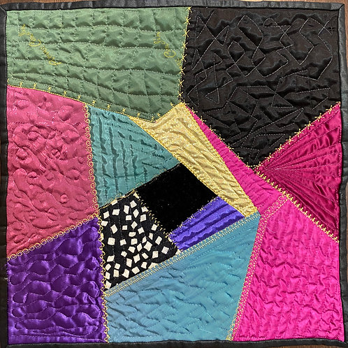 Bold and Vibrant 12x12 inch Crazy Quilt