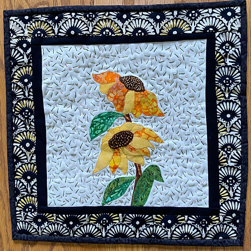 The Light Brings Sunflowers hand quilted art quilt