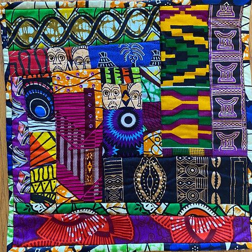 Beaded African 12x12 inch art quilt