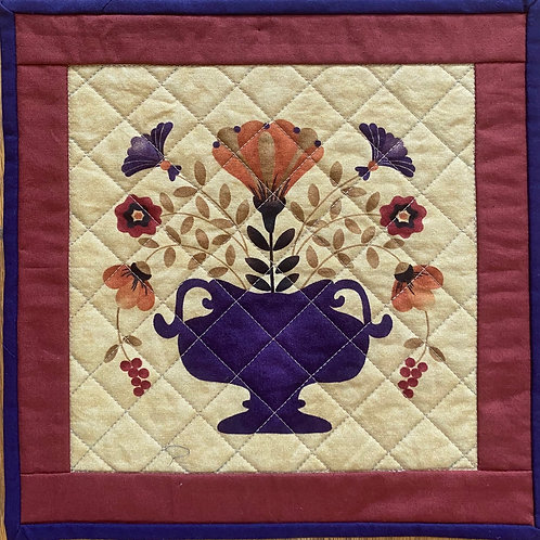 French Country Vase, 10x10 inch mini quilt