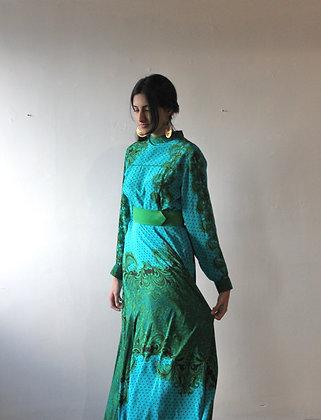 Italian Silk Maxi Dress Blue
