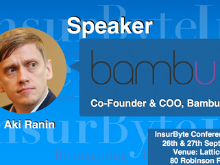 We are excited to announce Aki Ranin, Co-Founder & COO at Bambu, as a Speaker for InsurByte Conf
