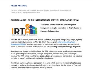 Official Launch of the International RegTech Associaton (IRTA)