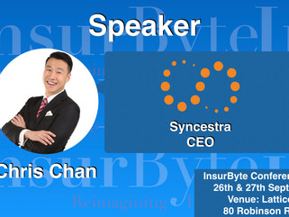 We are delighted to have Chris Chan from Synchestra as a Speaker for Insurbyte Conference 2017