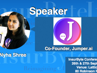 We are excited to announce Nyha Shree, Co-Founder at Jumper.ai as a Speaker for InsurByte Conference