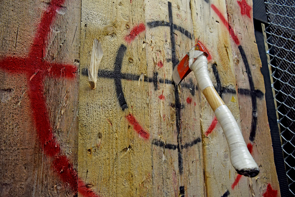 Indoor axe throwing hall for recreation,