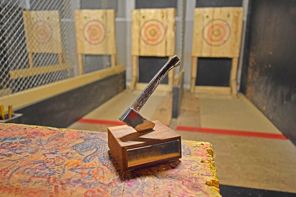 Axe throwing trophy on display at an ind