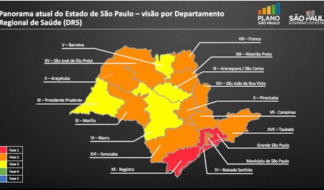 62 municípios na fase vermelha não poderão flexibilizar atividades econômicas durante a quarentena