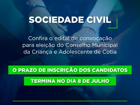 Cotia: Dia 8/07 termina o prazo de inscrição para a eleição do Conselho da Criança e do Adolescente