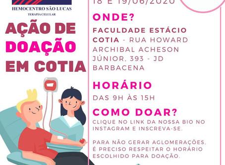 Estácio Cotia e Projeto Amor se Doa se unem para ajudar hemocentros em meio à pandemia