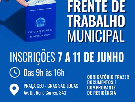 Vargem Grande Paulista: Prefeitura  abre 100 vagas para Frente de Trabalho Municipal