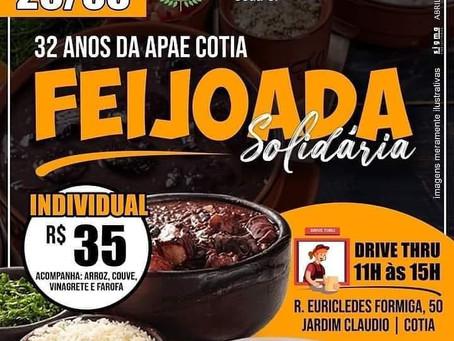 APAE Cotia realizará feijoada solidária no sábado
