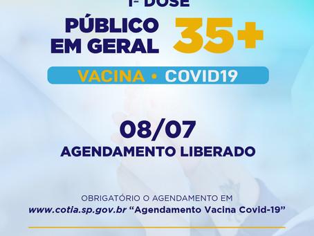 Covid19: Cotia começa a vacinar 35+