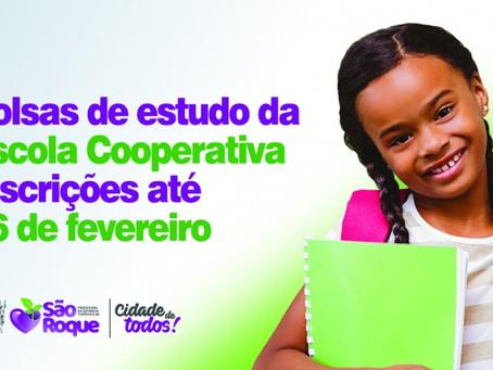 São Roque: Prefeitura abre inscrições para bolsas de estudo na Escola Cooperativa
