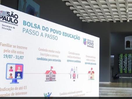 Pais e responsáveis de alunos da rede estadual já podem se inscrever no Bolsa do Povo Educação