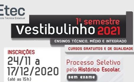 Inscrições para Vestibulinho das Etecs para 2021 são prorrogadas