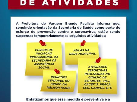Vargem Grande Paulista suspende aulas e adota medidas preventivas contra o Coronavírus