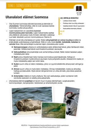 SL 3.14 Uhanalaiset eläimet Suomessa
