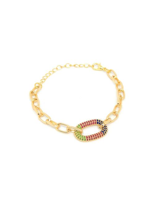 Renkli Zirkon Taşlı Elips Zincir Kadın Bileklik