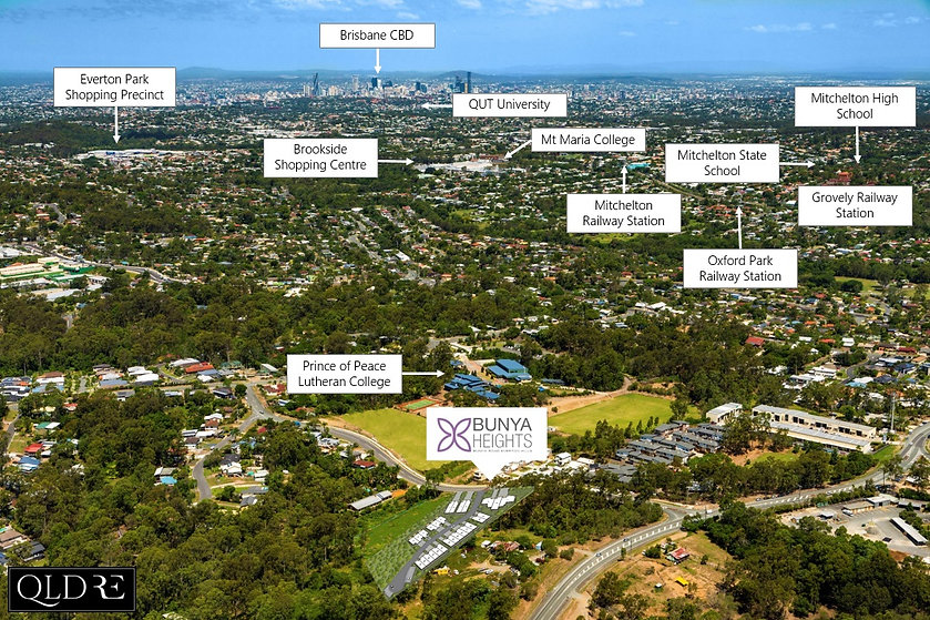 Aerial image of Bunya Heights townhouses located in Everton Hills Brisbane.