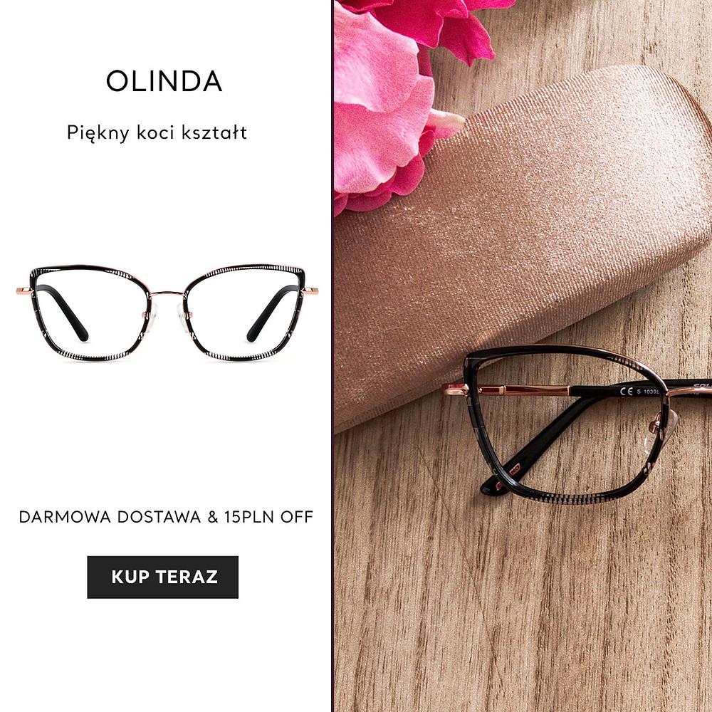 Piękne, kocie okulary Olinda.