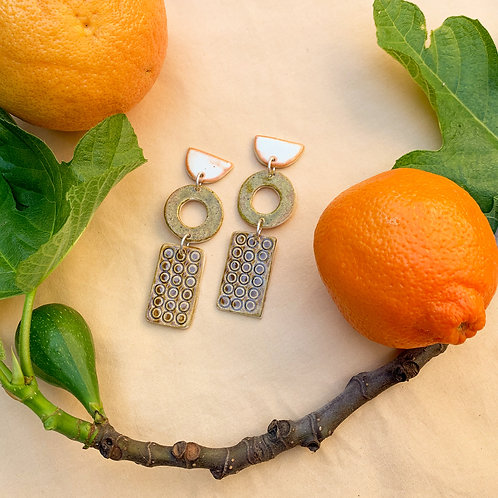 Artifact Ceramic Drop Earrings: Natural