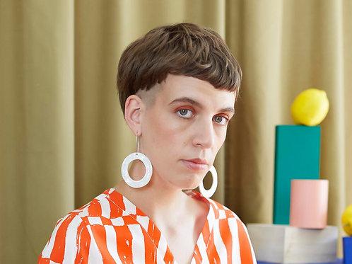 Ceramic Hoop Earrings: Pebble