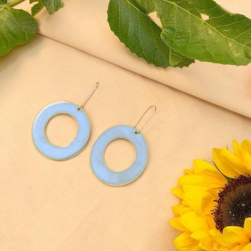 Ceramic Hoop Earrings: Sky Blue