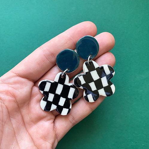 Bloom Ceramic Drop Earrings: Bottle Green with Black Checkerboard