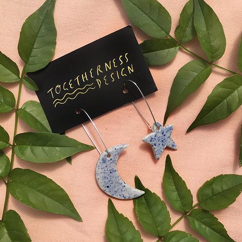 Ceramics Earrings: Moon & Star