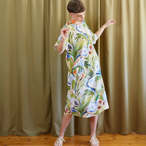 Silk Drawstring Dress: Land's Edge